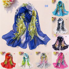 New Women Girls Chiffon Silk Long Soft Neck Scarf Shawl Wrap Stole Scarves 57