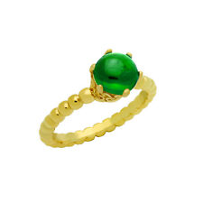 Gold Plated Bead Design Ring w/ 5MM Prong Set Cabochon Emerald    #GRW2086-EMD