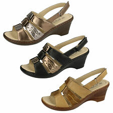 Ladies Eaze F3108 Synthetic Wedge Sling Back Sandals