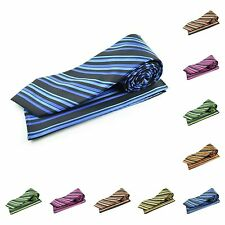 Mens Multi Striped Woven Casual Fashion Designer Microfiber Tie Necktie Ties