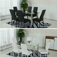 AMALFI GLASS DINING TABLE SET AND WITH 4 / 6 FAUX LEATHER BLACK WHITE CHAIRS NEW