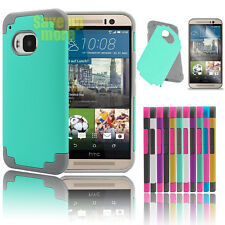 For HTC One M9 Rubber Hybrid Armor Ultra Thin Hard Rugged Matte Case Cover &Film
