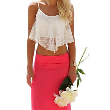 New Sexy Women Blouse Lace Floral Crop Top Bralette Bralet Loose Shirt Cami Tank