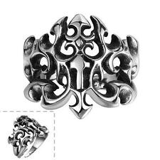Men's Black 316 Stainless Steel Retro Gothic Jewelry Vintage Fire Wide Punk Ring
