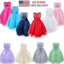 Pageant Flower Girl Wedding Bridesmaid Gown Princess Formal Party Tulle Dress