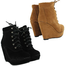NEW LADIES PLATFORM WEDGE HIGH HEEL ANKLE BOOTS FAUX SUEDE WOMENS SHOES UK SIZES