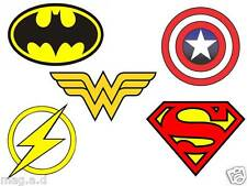 5 SUPERHEROES LOGO  FABRIC T-SHIRT IRON ON TRANSFERS LIGHT AND DARK COLORS