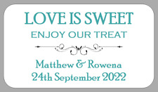 65 x MINI WEDDING FAVOUR LABELS LOVE IS SWEET FAVOR STICKERS TREAT PERSONALISED