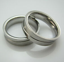 Hot Sale 316L Stainless Steel Spin Women Mens Frosted Bright Silver Band Rings