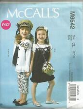 MCCALLS  6542 GIRLS  CARDIGAN DRESS  TOP PANTS HAT AND PURSE SEWING PATTERN
