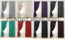 LUXURY PAIR OF FAUX SILK PENCIL PLEAT READY MADE FULL LINED CURTAINS + TIE-BACKS