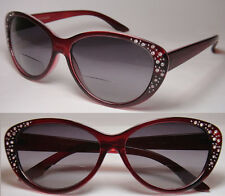CAT EYE BIFOCAL READING SUN GLASSES WOMAN RHINESTONE - 986S