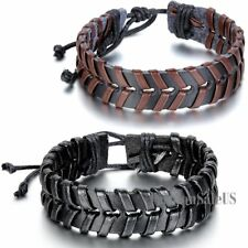 Tribal Unisex Handmade Braided Leather Bracelet Punk Adjustable Wristband Cuff