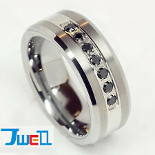 Luxury Best Black CZ Tungsten Carbide Brushed Titanium Ring Mens Wedding Band
