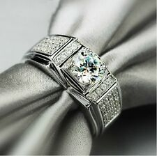 Size 7-13 Claw Set Jewellery Men Topaz 10KT White Gold Filled Wedding Band Ring