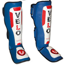 VELO Leather Shin Guards Pad Instep mma Leg Foot Gel Muay Thai Kick Boxing BLW
