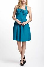 Anthropologie Bowed Halter Dress In Blue Org.$228.00 NWT! (FL)