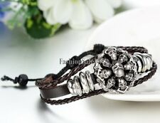 Men's Tribal Punk Skull Head Adjustable Leather Bracelet Fashion Wristband Cuff