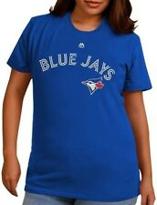 Toronto Blue Jays MLB Majestic Wordmark Womens T Shirt Royal Blue Plus Sizes