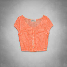 Abercrombie & Fitch Harper Top Womens Neon Orange Eyelet Lace Cropped Shirt NWT