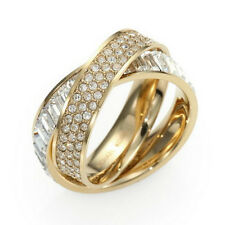 New Michael Kors Pave Intertwined Baguette Ring $115 Gold Size 6 7 8