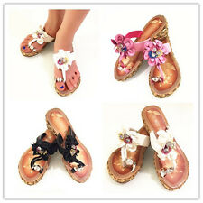 GIRLS KIDS LOW WEDGE SUMMER FLOWER SANDALS SHOES SIZE