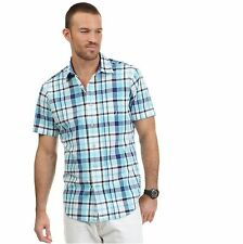 NWT Nautica navy blue turquoise white plaid cotton button front camp shirt Large
