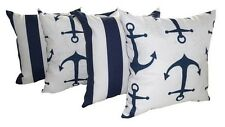 Deck Stripe Blue and Anchors Navy Nautical Outdoor Throw Pillow - Set of 4