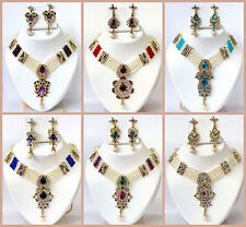 Bollywood Designer Indian Jewelry Royal Pearls Gold Necklace Ethnic Wedding Set
