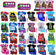 NEW Sz 1~8 KIDS PYJAMAS BOYS GIRLS SUMMER PJ PJS MINION PAW PATROL RESCUE FROZEN