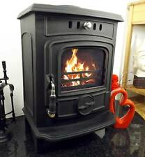 CAST IRON ENAMEL BACK BOILER LOG WOOD BURNING  MULTIFUEL STOVE BLACK CREAM