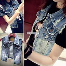 Retro Women Punk Frayed Cardigan Denim Jean Vest Waistcoat Jacket Outerwear Coat
