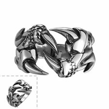 Men's 316L Stainless Steel Black Silver Vintage Jewelry Punk Skull Claw Ring