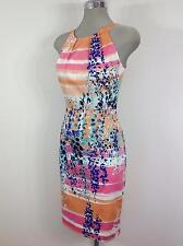 Calvin Klein NEW Elegant Pink/Org  Floral Dress w Halter top abd slimming waist