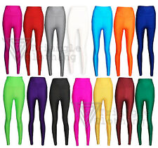 Womens High Rise Waist Disco Leggings Shimmer Shine Party 80's Slim Fit Apparel