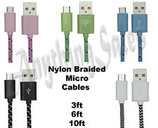 USB Micro Cable Charger Sync Nylon Braided for Samsung S6 S7 Edge Note 2 4 5 LG