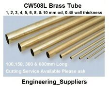 CW508L Brass Tube Pipe 1, 2, 3, 4, 5, 6, 8 & 10mm Dia 0.45mm wall Various Length