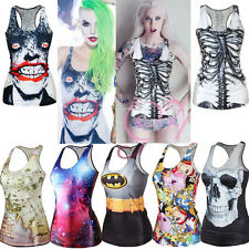 Womens Printed Tank Top Vest Blouse Gothic Punk Party Sleeveless Costume T-Shirt