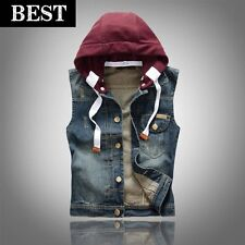 Mens vintage sleeveless slim motor removable hooded jackets casual denim vests