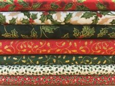 Fat Quarters Bundles 8 Christmas Cotton Festive Fabric Holly Red Gold Green F24