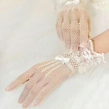 Sexy Lace Full Fingers Short Bow Gloves Wedding Bride Bridesmaid Evening Party