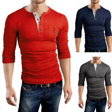 Fashion Casual Slim Fit Solid Color V-Neck Long Sleeve Men's Muscle T-Shirts Top