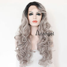 Hair cap+ Long Wavy Black Root Ombre Grey Lace Front Wig Synthetic Hair Wigs