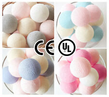 20 SWEET PASTEL COTTON BALL STRING LIGHTS CE UL - BEDROOM, WEDDING, PATIO, PARTY