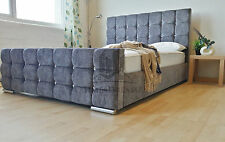 Florence Crystal Diamond Bed Upholstered Chenille Many Colours & Sizes UK Made