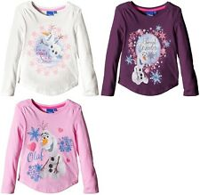 DISNEY FROZEN LONG SLEEVE TOP OLAF GIRLS TOP  AGE 3-8Y OFFICIAL LICENSED