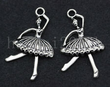 6/30/150pcs Tibetan Silver Ballet Girl Jewelry Finding Charms Pendant 35x20mm