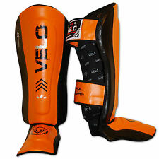 VELO Leather Gel Shin Instep Pads MMA Leg Foot Guards Muay Thai Kick Boxing ORG