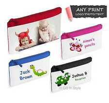 PERSONALISED PHOTO PENCIL CASE WITH ANY IMAGE and/or TEXT / SCHOOL NAME LOGO