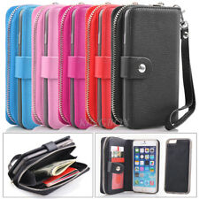Premium Leather Wristlet Cash Clutch Wallet Card Slot Case For iPhone & Samsung